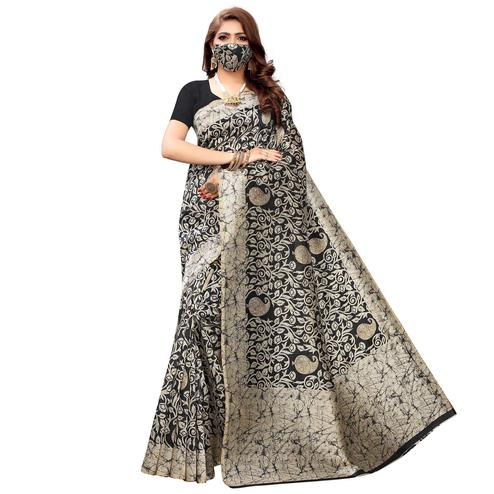 Delightful Black Colored Casual Wear Printed Cotton Saree With Mask