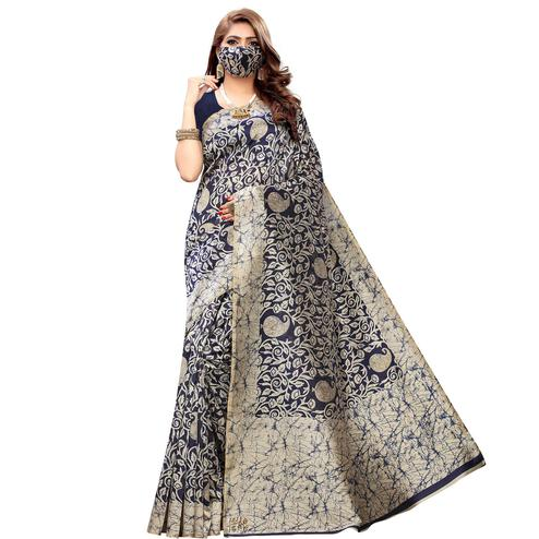 Engrossing Navy Blue Colored Casual Wear Printed Cotton Saree With Mask