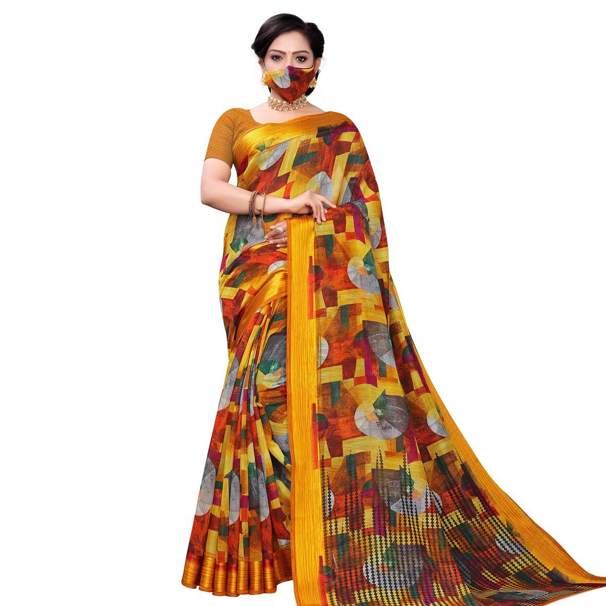 Innovative Multi-Yellow Colored Casual Wear Printed Satin Saree With Mask