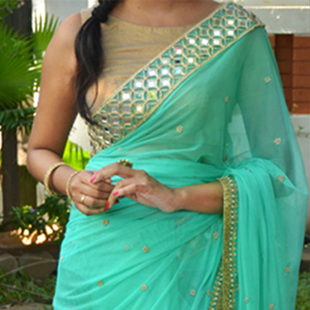 Sea Green Saree with Pearl Motifs