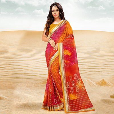 Multi Colored Georgette Bandhani Print Partywear Saree