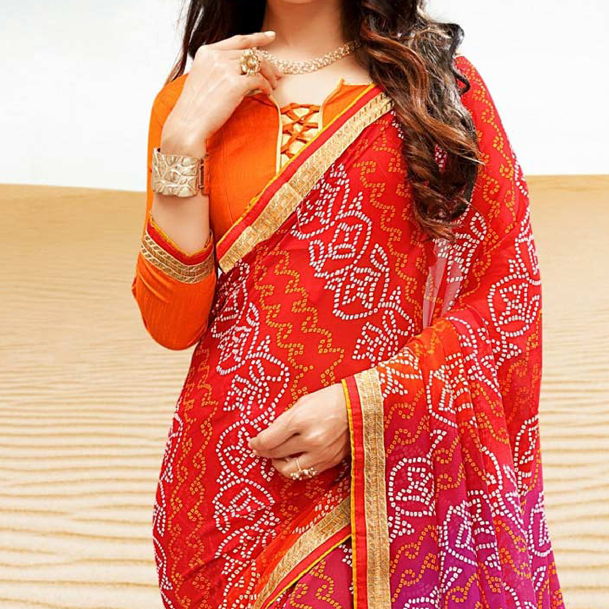 Orange-Pink Georgette Bandhani Print Partywear Saree
