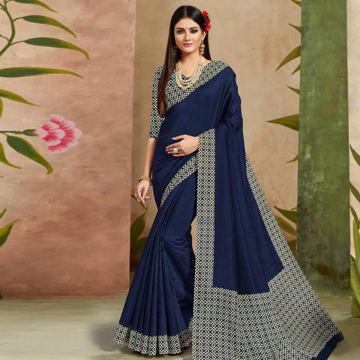 Desirable Navy Blue Colored Casual Wear Printed Cotton Silk Saree