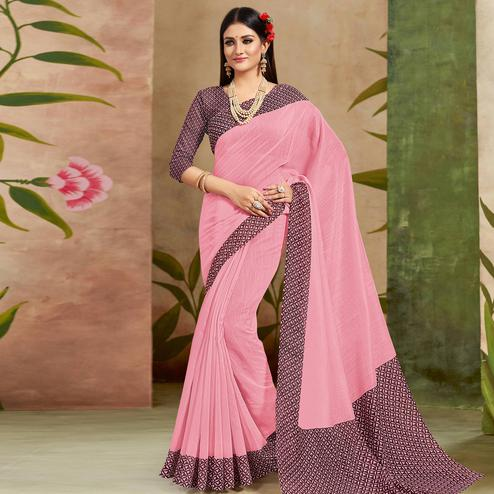 Sophisticated Pink Colored Casual Wear Printed Cotton Silk Saree