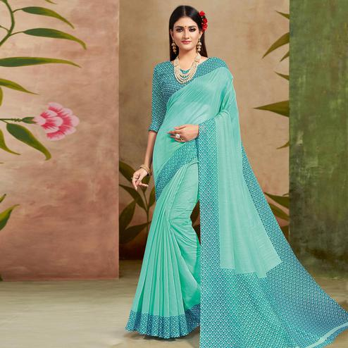 Trendy Green Colored Casual Wear Printed Cotton Silk Saree