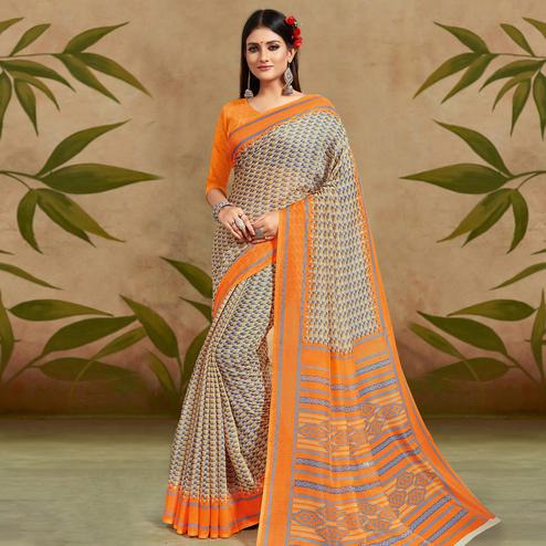 Radiant Beige Colored Casual Wear Printed Cotton Silk Saree