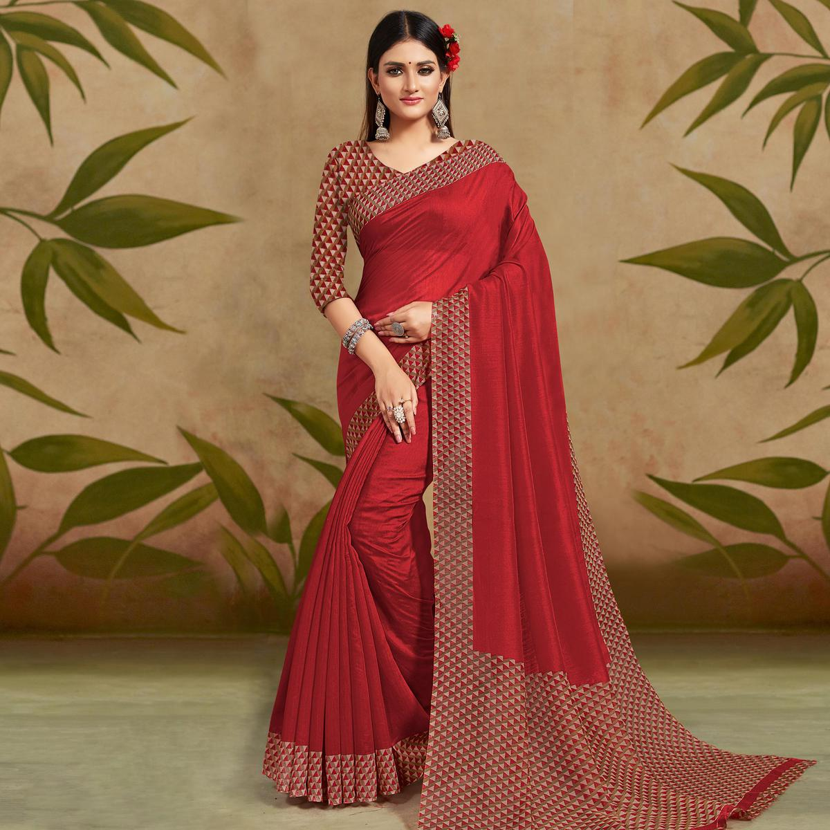 Pleasant Maroon Colored Casual Wear Printed Cotton Silk Saree