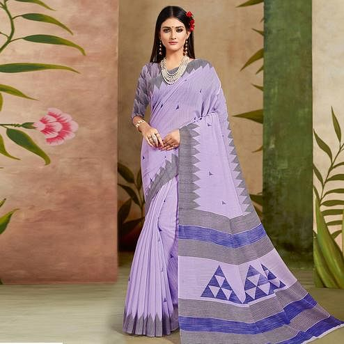Energetic Light Blue Colored Casual Wear Printed Cotton Silk Saree
