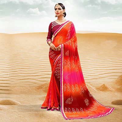 Maroon-Orange Georgette Bandhani Print Partywear Saree