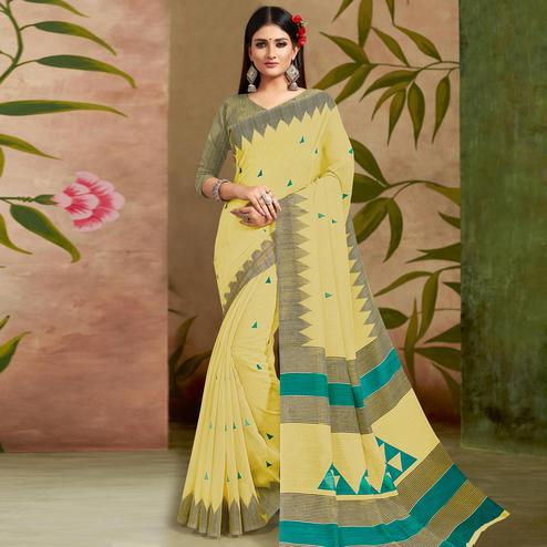 Glowing Yellow Colored Casual Wear Printed Cotton Silk Saree
