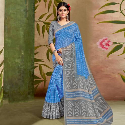 Exceptional Blue Colored Casual Wear Printed Cotton Silk Saree