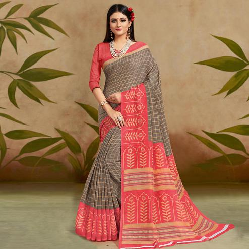 Gleaming Brown Colored Casual Wear Printed Cotton Silk Saree