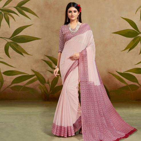 Mesmeric Light Purple Colored Casual Wear Printed Cotton Silk Saree