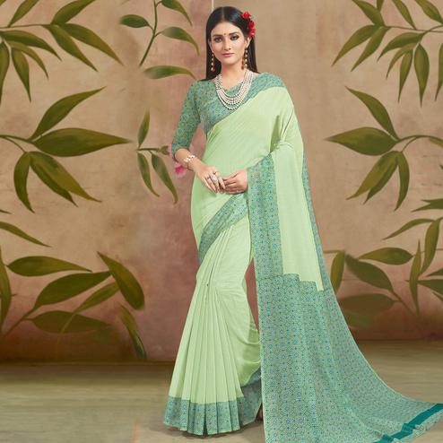 Unique Light Green Colored Casual Wear Printed Cotton Silk Saree