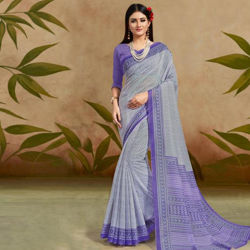 Demanding Blue Colored Casual Wear Printed Cotton Silk Saree