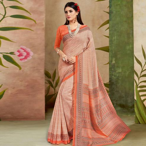 Refreshing Peach Colored Casual Wear Printed Cotton Silk Saree