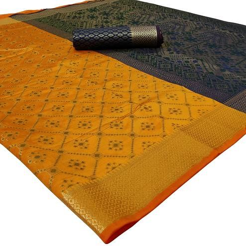 Graceful Yellow Colored Festive Wear Woven Silk Saree