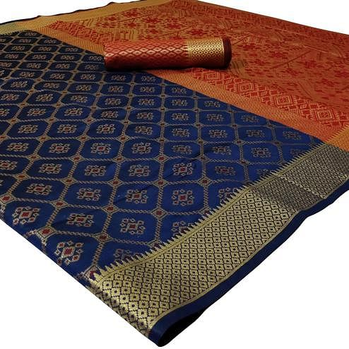 Charming Navy Blue Colored Festive Wear Woven Silk Saree