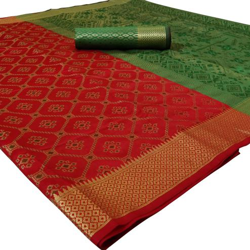 Jazzy Red Colored Festive Wear Woven Silk Saree