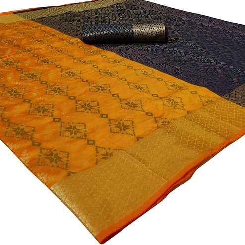 Delightful Yellow Colored Festive Wear Woven Silk Saree