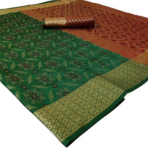 Innovative Green Colored Festive Wear Woven Silk Saree