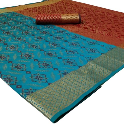 Fantastic Blue Colored Festive Wear Woven Silk Saree
