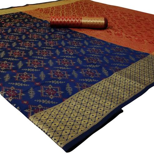 Amazing Navy Blue Colored Festive Wear Woven Silk Saree