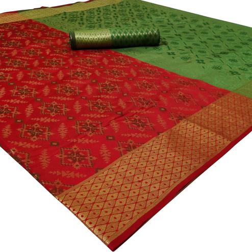 Gorgeous Red Colored Festive Wear Woven Silk Saree