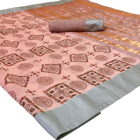 Majesty Peach Colored Festive Wear Woven Silk Saree