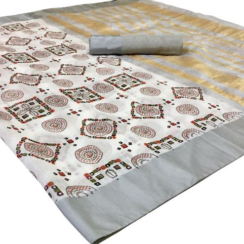 Impressive White Colored Festive Wear Woven Silk Saree