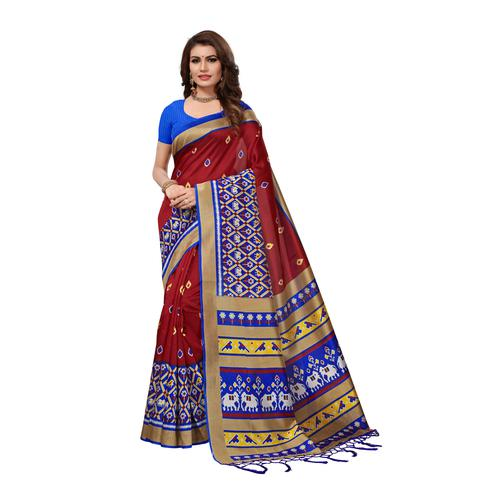 Exotic Maroon Colored Casual Wear Printed Art Silk Saree