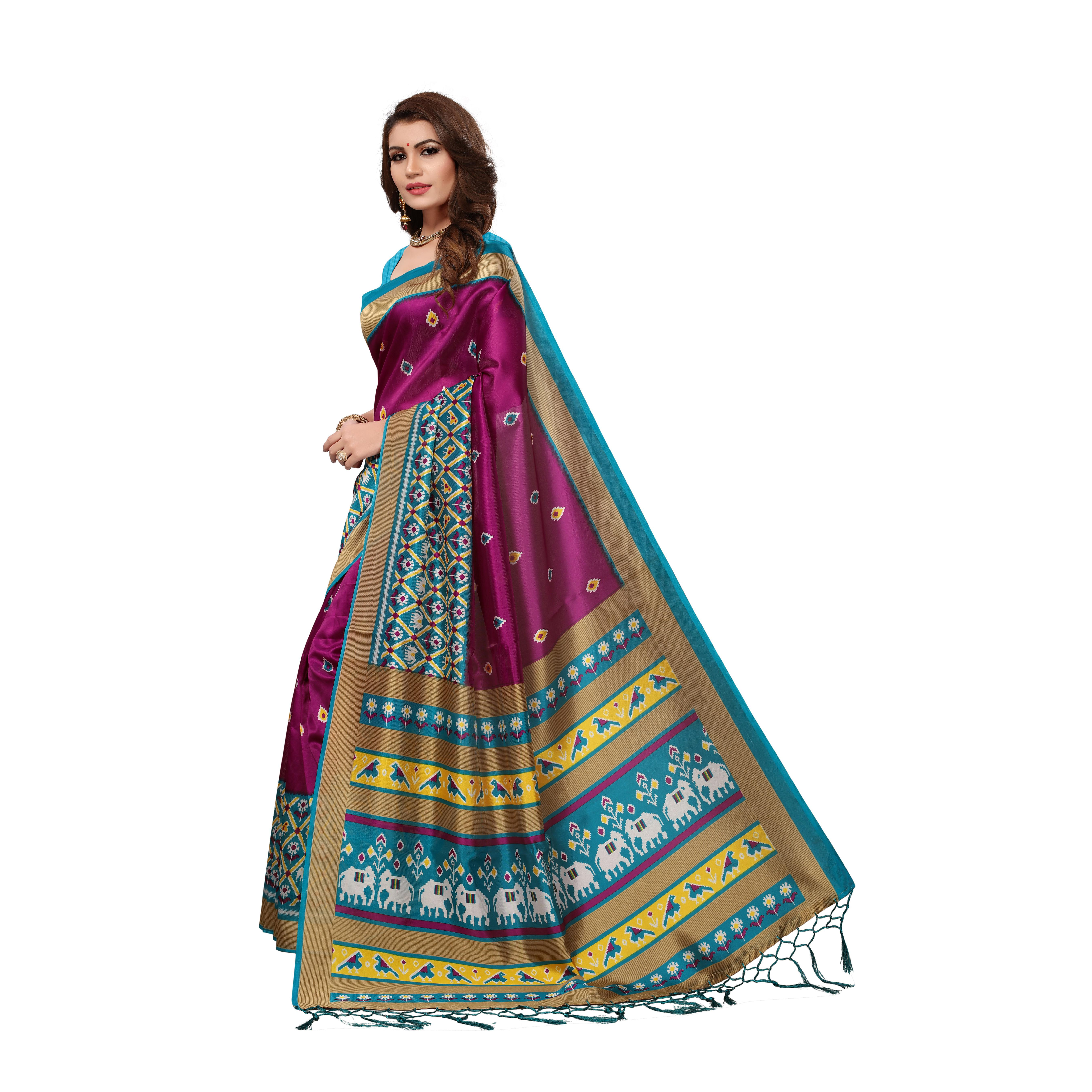 Sophisticated Magenta Colored Casual Wear Printed Art Silk Saree