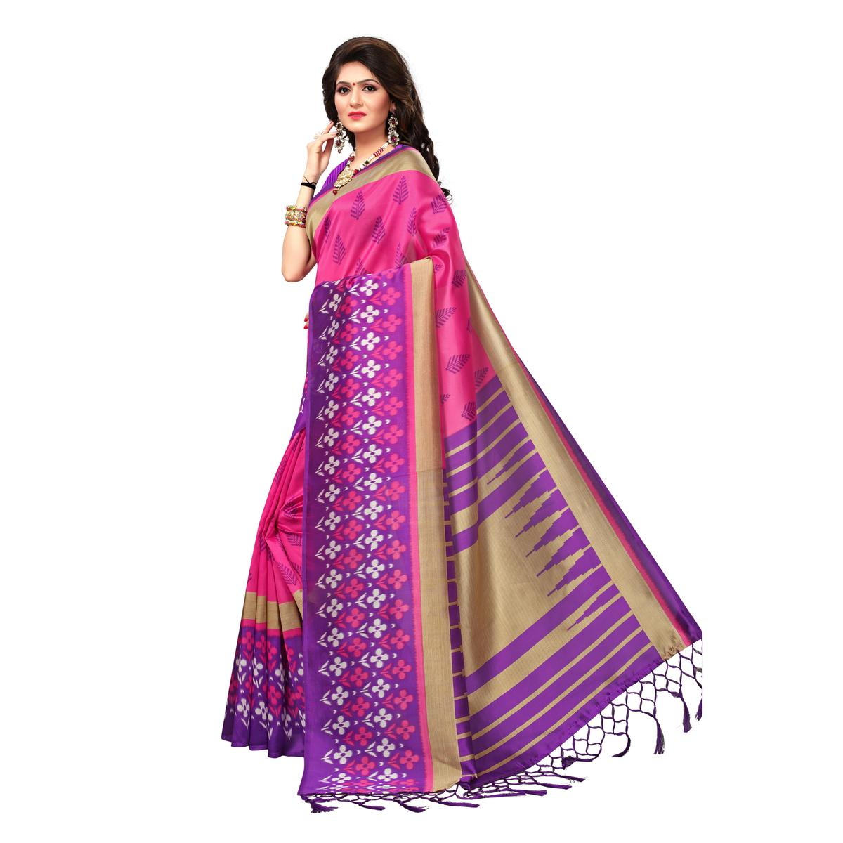 Trendy Pink Colored Casual Wear Printed Art Silk Saree