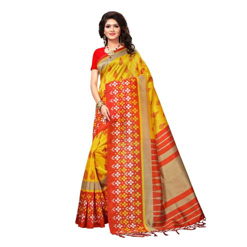 Elegant Yellow Colored Casual Wear Printed Art Silk Saree