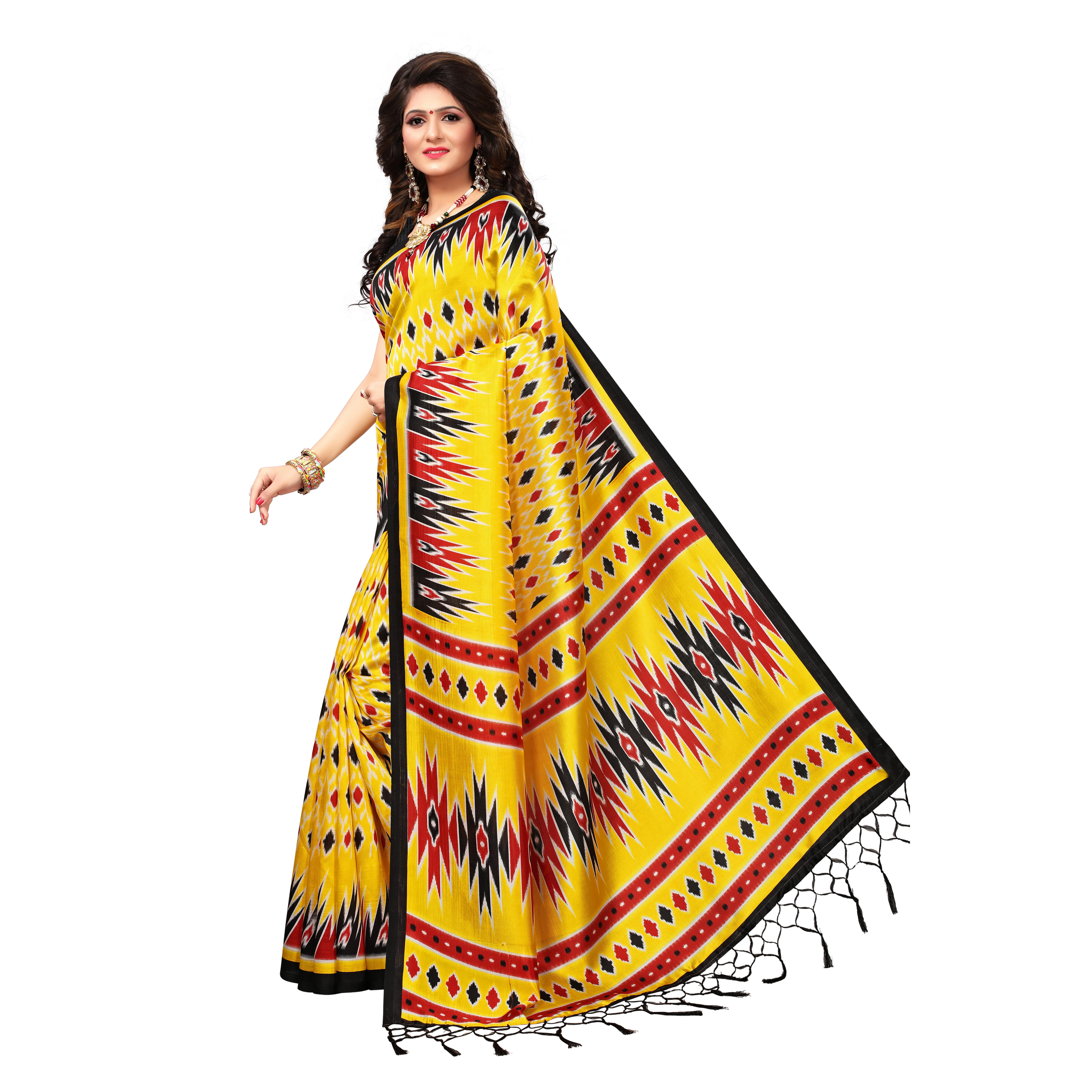 Radiant Yellow Colored Casual Wear Printed Art Silk Saree
