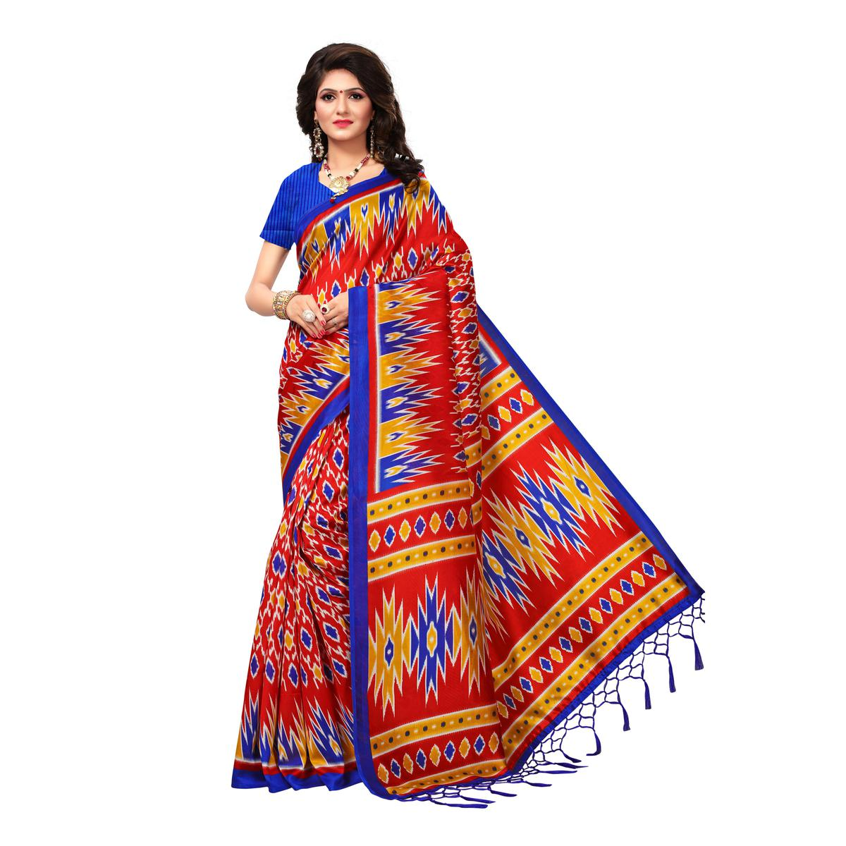 Pleasant Red Colored Casual Wear Printed Art Silk Saree