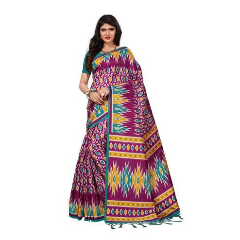 Glowing Magenta Colored Casual Wear Printed Art Silk Saree