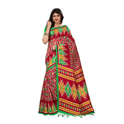 Exceptional Red Colored Casual Wear Printed Art Silk Saree