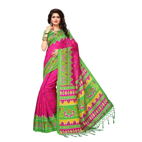 Unique Pink Colored Casual Wear Printed Art Silk Saree