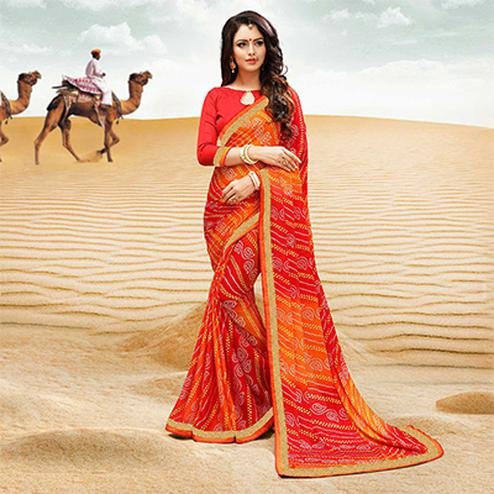Red-Orange Georgette Bandhani Print Partywear Saree