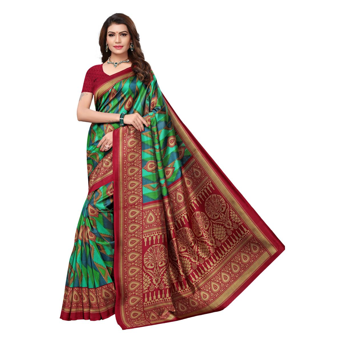 Hypnotic Mulitcolor-Green Colored Casual Wear Printed Art Silk Saree