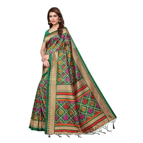 Excellent Green Colored Casual Wear Printed Art Silk Saree
