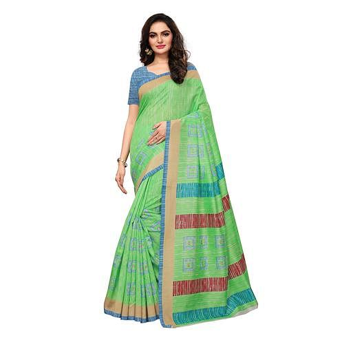 Graceful Parrot Green Colored Casual Wear Printed Bhagalpuri Silk Saree