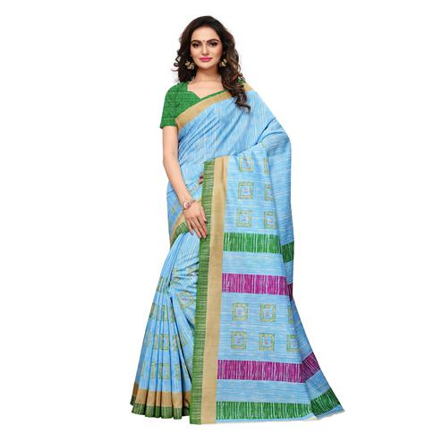 Blooming Sky Blue Colored Casual Wear Printed Bhagalpuri Silk Saree