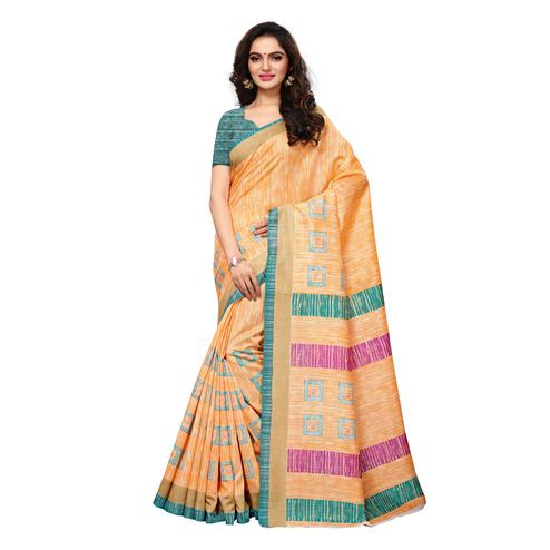 Charming Orange Colored Casual Wear Printed Bhagalpuri Silk Saree