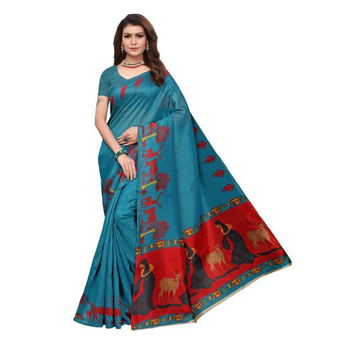 Delightful Teal Blue Colored Casual Wear Printed Bhagalpuri Silk Saree