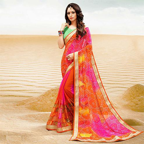 Orange-Green Georgette Bandhani Print Partywear Saree
