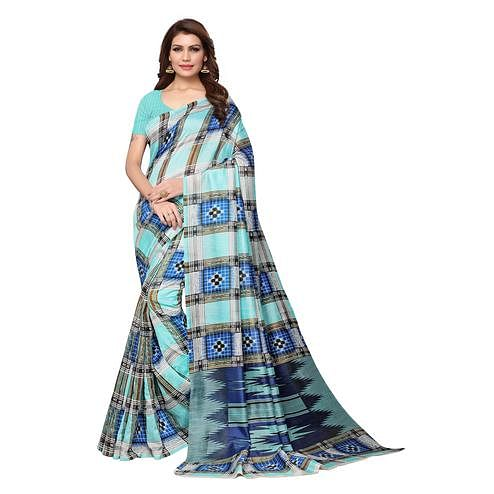 Captivating Sea Green Colored Casual Wear Printed Bhagalpuri Silk Saree