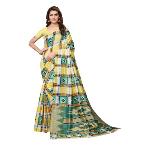 Innovative Yellow Colored Casual Wear Printed Bhagalpuri Silk Saree