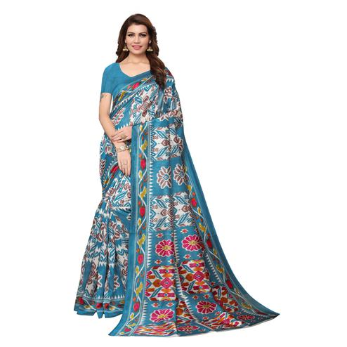 Eye-catching Teal Blue Colored Casual Wear Printed Bhagalpuri Silk Saree